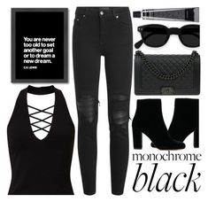 """""""All Black"""" by madeinmalaysia ❤ liked on Polyvore featuring Americanflat, Miss Selfridge, AMIRI, Chanel and allblack"""