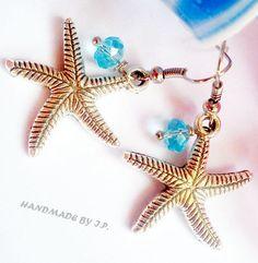 Silver Starfish charm earrings