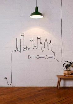 Funny pictures about Who Says You Have To Hide Cables. Oh, and cool pics about Who Says You Have To Hide Cables. Also, Who Says You Have To Hide Cables photos. Diy Wand, Diy Wall Decor, Diy Home Decor, Wall Decorations, Bedroom Decor, Decoration Crafts, Bedroom Wall, Art Decor, Wire Installation