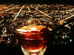 The Signature Lounge on the 96th, John Hancock Building, Chicago.  The drinks are expensive, but the views are fabulous!