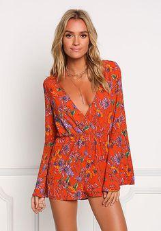 9ba60fea2c2 Orange Floral Deep V Bell Sleeve Romper - Jumpsuits   Rompers - Clothes  Love Culture