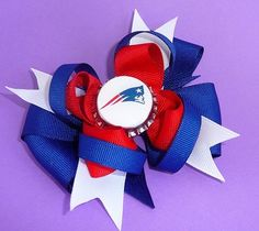 New England Patriots Custom Bottle Cap Football Team Bow in Red White and Blue. $7.50, via Etsy.