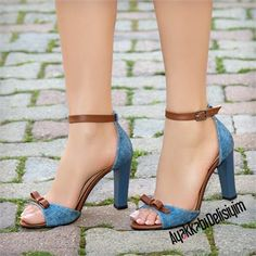 Esperanza Taba Kot Fiyonklu Kalın Topuklu Ayakkabı #jean #brown #bowly