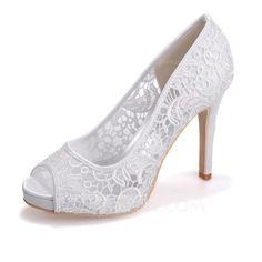 [AU$71.00] Women's Lace Satin Stiletto Heel Peep Toe Pumps Sandals