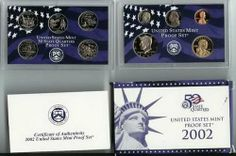 2002 S Proof Set in Original US Government Packaging by U.S. MINT. $9.99. Here is the 2002 Proof Set. The Proof Set for 2002 has 10 coins, including the 5 State Quarters (Tennessee, Ohio, Louisiana, Indiana, Mississippi), the Dime, Half, Jefferson Nickel, Lincoln Cent and the Sacagawea Dollar. This Proof Set will include all of the original packaging, including the plastic display holders, plus the original US Mint box and COA.