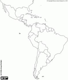 Map of Latin America. Latin America is made up of Mexico, Central America and South America coloring page