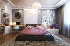 moderne schlafzimmer einrichtungsideen wandfarbe grau springboxbett