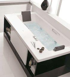 Bath Room Diy Bathtub Storage Ideas 27 Ideas For 2019 Bathtub Storage, Diy Bathtub, Small Bathtub, Small Bathroom, Towel Storage, Storage Drawers, White Bathrooms, Luxury Bathrooms, Master Bathrooms