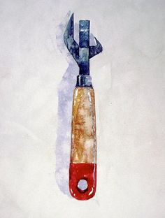 Antique Can Opener Watercolor by Robert Spellman Watercolor Fruit, Fruit Painting, Jim Dine, Mechanic Tools, Year 9, Acrylic Painting Techniques, Figure It Out, Everyday Objects, Watercolours