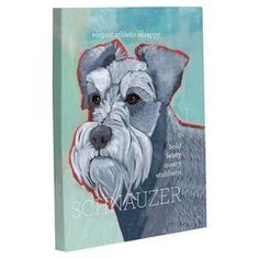 """Add a touch of whimsy to your home decor with this canine-chic canvas art.  Product: Wall décorConstruction Material: Polyester cotton canvas, HDF and cardboard Color: Blue and multiFeatures:  Canvas stretched over frameBack is finished with pressed cardboardHigh shine laminate finish Dimensions: Small: 10"""" H x 8"""" W Medium: 14"""" H x 11"""" WLarge: 20"""" H x 16"""" WCleaning and Care: Wipe clean"""