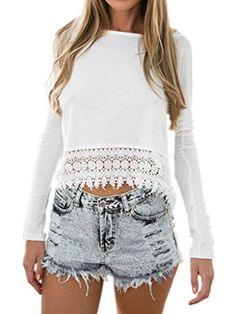 1e62a4178c7 Persun Women White Lace Hem Long Sleeve Plain Blouse at Amazon Women s  Clothing store