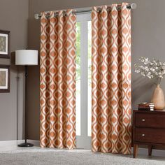 Create a focal point in your room with the stunning Madison Park Verona Window Curtain Panel. The chic grommet top features a modern ogee pattern printed on a textured chenille fabric with a room-darkening lining to keep out the light. Curtains Window Treatments, Paneling, Curtains, Panel Curtains, Drapes Curtains, Chenille Curtains, Contemporary Curtains, Orange Curtains, Living Design