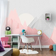 Kids Triangle Mountain Wallpaper  Mountain Mural by InAnInstantArt