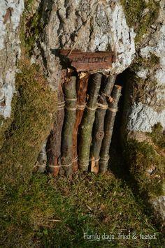 Miniature welocme sign + door-in-a-tree