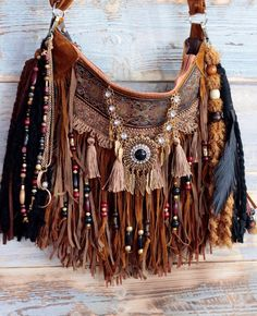 Native american style purse in saddle brown
