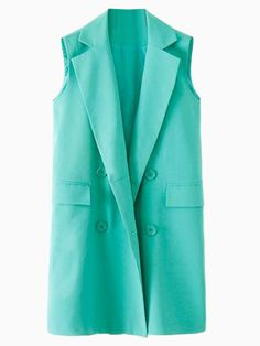 Green Lapel Waistcoat with Button Front   Choies