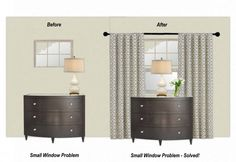 Interior Designer's trick for small windows - mount a mirror lengthwise under the window, then hang floor length window panels from above the window. Place a lamp in the middle of the dresser to camouflage the mirror and help integrate it with the window Bedroom Windows, Curtains For Basement Windows, Long Curtains, Small Window Curtains, Curtains For Short Windows, Hanging Curtains, Bedroom Curtains, Bedroom Carpet, Small Basements