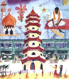 Singapore life  Michael A Hill - Illustrator