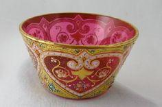 Antique Moser Enamel Heart Cranberry Glass Bowl
