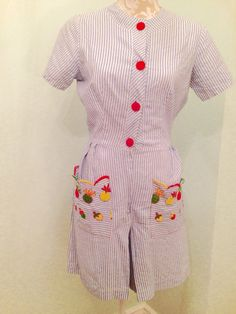 A personal favorite from my Etsy shop https://www.etsy.com/listing/251734169/1950s-seersucker-romper-with-embroidered