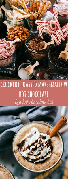 Crockpot Toasted Marshmallow Hot Chocolate with a Hot Chocolate Bar