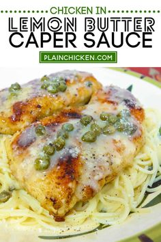 Chicken in Lemon Butter Caper Sauce - restaurant-quality dinner in 30 minutes! You'll be blown away after one bite! Lightly breaded chicken pan sautéed and served over pasta with a quick homemade lemon butter caper sauce made from butter, onion, garlic, lemon, white wine, and capers. You won't believe how easy this is to make! It is a family favorite! #chicken #pasta #lemon #capers Lemon Butter Sauce Pasta, Lemon Caper Sauce, Lemon Pasta, Lemon White Wine Sauce, Lemon Caper Chicken, Lemon Butter Chicken, Easy Chicken Dinner Recipes, Chicken Pasta Recipes, Pasta Dishes