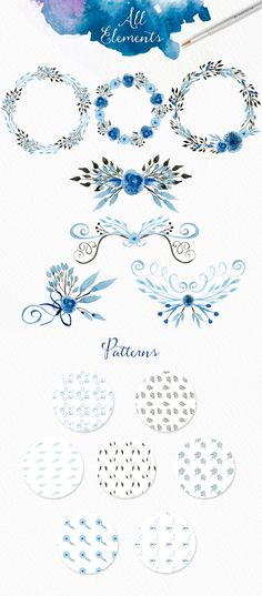 Light Blue Watercolour Elements by Webvilla on Creative Market