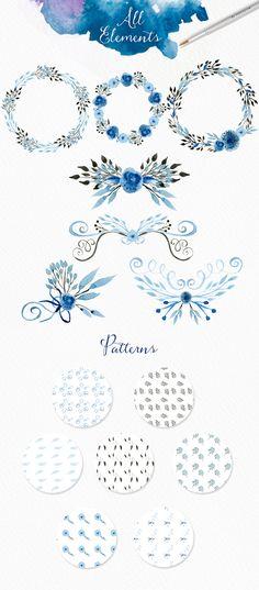 Light Blue Watercolour Elements by Webvilla on Creative Market
