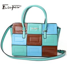 ESUFEIR 2016 Fashion Panelled Leather Women Handbag Multicolor Patchwork Shoulder Bag Classic Women Bag Tote sac a main bolsos #shoes, #jewelry, #women, #men, #hats