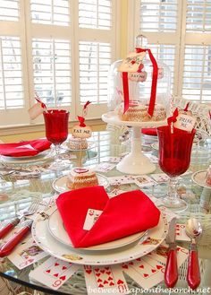 Whimsical Valentine's Day Tablescape, Alice in Wonderland Style | http://betweennapsontheporch.net
