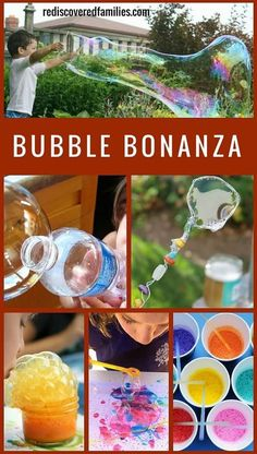 The ultimate collection of bubble activities for kids that will keep them playing for ages! Includes art, science, recipes and homemade wands. Family fun at it's best. Bubble Activities, Outdoor Activities For Kids, Preschool Activities, Games For Kids, Crafts For Kids, Camping Activities, Outdoor Games, Bubble Games, Outdoor Crafts