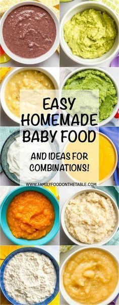 Tons of ideas for easy homemade baby food combinations, both the basics for beginners and more interesting combinations for older babies! | www.familyfoodonthetable.com Toddler Meals, Kids Meals, Family Meals, Toddler Food, Baby Meals, Pureed Food Recipes, Baby Food Recipes, Healthy Recipes, Baby Bullet Recipes