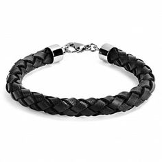 Crucible Stainless Steel And Black Braided Leather Men's Bracelet