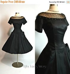 "FLASH SALE 30% Off 1950's Vintage Black and Nude Fishnet Rhinestone Illusion Neckline Full Skirt New Look Cocktail Dress 26"" Waist Small"