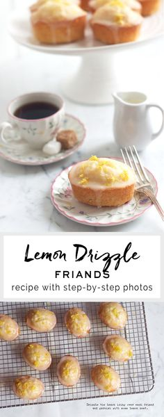 Recipe for Lemon Drizzle Friands with step-by-step photos, plus tips on where to buy friand tins. Friands are similar to the French financiers and are made with ground almonds and egg whites for a light and fluffy cake. Lemon Recipes, Sweet Recipes, Cake Recipes, Dessert Recipes, Tea Cakes, Mini Cakes, Cupcake Cakes, Friands Recipe, Small Cake