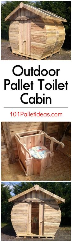 Outdoor Pallet Toilet Cabin | 101 Pallet Ideas                                                                                                                                                                                 More
