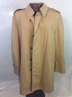 Brand New London Fog Coat Brown Mens Sz 44L EC Lined LUXE FAB!!!! #LondonFog #Trench