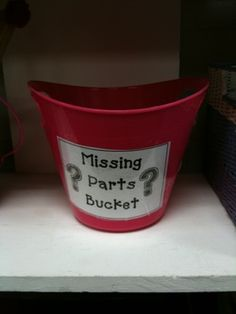 EVERY HOUSE NEEDS ONE!!!!  Great idea. Ever found buttons, etc. around the house and had no idea where they go?  Just place them in the bucket.
