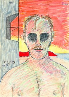 Der ewige Tag (The Day of Forever), 1984 by J.G.Wind - Psychologisches Porträt / The drawing is an illustration for J.G.Ballard's same-titled short story.