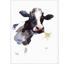 Watercolor Paintings Of Animals, Wildlife Paintings, Animal Paintings, Animal Drawings, Watercolor Art, Mouth Painting, Cow Painting, Pottery Painting, Cow Pictures