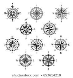 Vintage Compass and Wind Rose Isolated Symbol Set - Decorative Symbols Decorativ. - Vintage Compass and Wind Rose Isolated Symbol Set – Decorative Symbols Decorative The Effective P - Compass Tattoo Drawing, Vintage Compass Tattoo, Mandala Compass Tattoo, Nautical Compass Tattoo, Geometric Compass, Compass Symbol, Map Compass, Compass Tattoo Design, Compass Rose