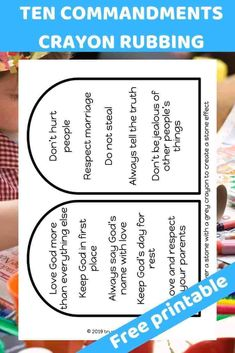 The Ten Commandments Pencil rubbing. Create a stone effect. Fun activity for kids. - Free Bible lesson for under - Trueway Kids Preschool Bible Lessons, Bible Lessons For Kids, Bible Activities, Bible For Kids, Church Activities, Preschool Activities, Sunday School Lessons, Sunday School Crafts, 10 Commandments Kids