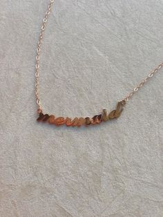 Rose gold filled mermaid necklace thin Link Chain by DeesseJewelry