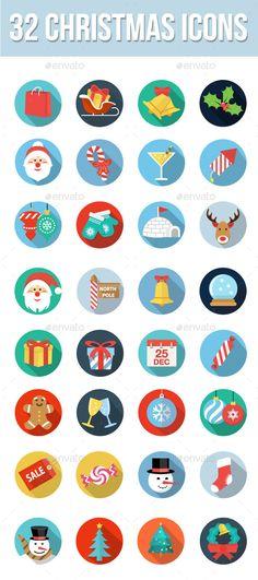 32 Christmas Icons #design #xmas Download: http://graphicriver.net/item/32-christmas-icons/9549447?ref=ksioks