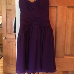 PROM READY! beautiful eggplant purple prom dress! Beautiful eggplant purple formal short strapless dress perfect for the prom. Very flattering!  Excellent condition! Angelina Faccenda Dresses Prom