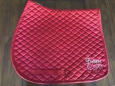 This is a New English All Purpose Saddle PadRed Color PadMachine Embroidered Believe and fancy swirl stitched in white on bottom left corner of the pad. Horse Saddle Pads, Horse Saddles, Saddle Bags, English Saddle, Purpose, Fancy, Stitch, Red, Ebay