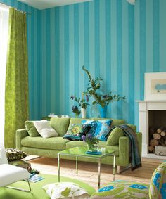 Striped wall. Patterns. Beautiful greens and blues.                                                                                                                                                                                 More