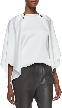 Halston Slit-Shoulder Layered Silk Blouse