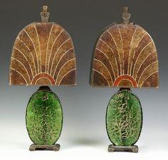 Learn more about Pair of Art Deco Lamps available at Cottone Auctions. Take a look now before it is too late! Arte Art Deco, Art Deco Era, Art Nouveau, Antique Lamps, Vintage Lamps, Antique Lighting, Chandeliers, Art Deco Stil, Art Deco Lighting