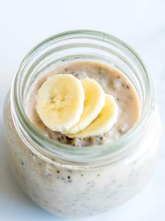 banana chia pudding healthy recipe with banana and coconut milk egg free custard perfect for baby led weaning #babyledweaning #babyfood